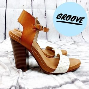 Groove Ashley Brown & White Leather Slingback Heel